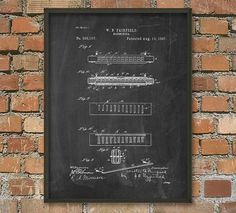 Harmonica Patent Wall Art Poster by QuantumPrints on Etsy