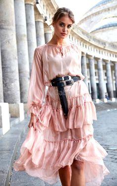 FRANBCESCA BLUSH silk dress