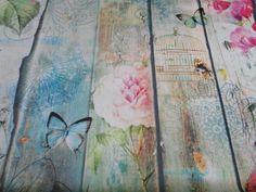 Decoratie stof, digitaal, vogel/streep print, azuur/roze DK014