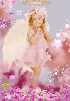 Little angel in pink Angel Images, Angel Pictures, Gif Pictures, Images Gif, Pretty Pictures, Animated Gifs, I Believe In Angels, Angels In Heaven, Heavenly Angels