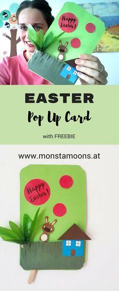 Osterkarte basteln, easter card, easter crafts, Monstamoons, POP-Up Hase, Hasen basteln, Basteln für Ostern, Karten basteln, Kindergarten basteln