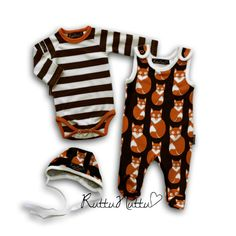 Cute baby set with Fox printed baby hat and footed jumpsuit