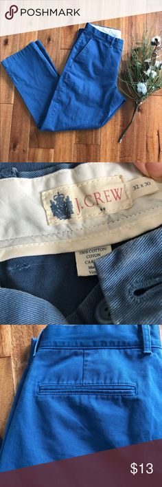 J. Crew 32/30 blue slacks in EUC straight fit These medium blue J. Crew socks are the perfect addition to your work closet! They go great with button up shirts or sweaters and a nice pair of shoes. No rips, stains, or tears. Bundle with other items in my closet for the best deal! J. Crew Pants Chinos & Khakis
