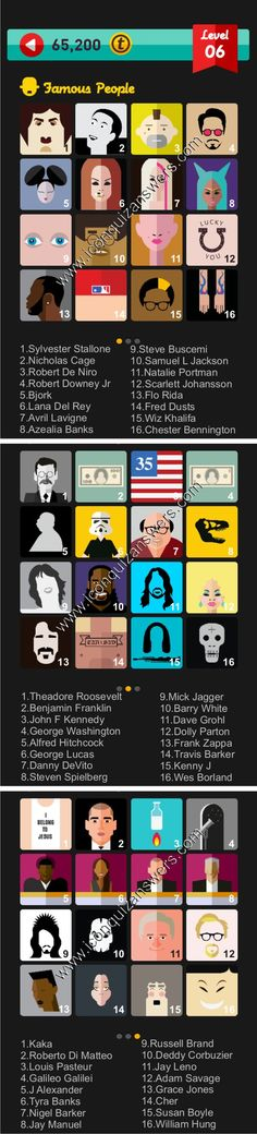Icon Pop Quiz Famous People Level 6 Answers for iPhone, iPad and Android