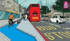 This kind of cycle track and bus stop design is commonplace in the Netherlands, and has been shown to remove conflict between cyclists and buses.