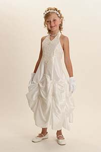 Flower Girl Dress Style 5394- Ivory Halter Dress with Pick Up Style Skirt with Sequins