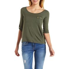 Charlotte Russe Olive Zip Pocket Top with Roll-Up Sleeves by Charlotte... ($15) ❤ liked on Polyvore featuring tops, olive, short sleeve tops, scoopneck top, 3/4 sleeve tops, scoop neck top and 3/4 length sleeve tops