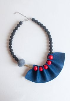 Blue & Red Felt Resin Ball Necklace NL0896R by sanwaitsai on Etsy