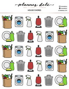 doodle Free House Chores Printable Stickers - Planner Deli Down Lighting Planner Free, To Do Planner, Planner Pages, Happy Planner, Student Planner, House Planner, Planner Inserts, Planner Tumblr, House Chores