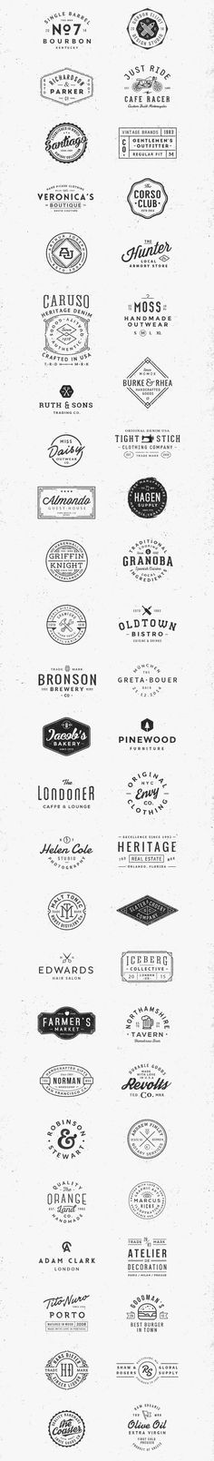 The bundle includes 50 high quality vintage logos for Adobe Photoshop and Illustrator.: