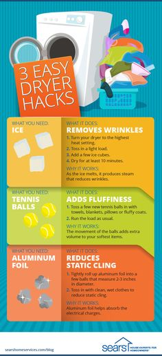 These 3 dryer hacks will change how you do laundry! Are you looking for ways to remove wrinkles from your clothes in a pinch? How can you make your favorite sheets and towels fluffier? Or reduce static cling from blouses? Try these easy dryer hacks out next time you do laundry. All you need to try these hacks are a few household items: ice, aluminum foil and tennis balls. Visit the Sears Home Services blog more life hacks that will change how you do laundry.