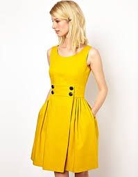 Orla Kiely yellow dress - I'm wearing this for a wedding in September. Thinking that a hot pink jacket would look great with it.