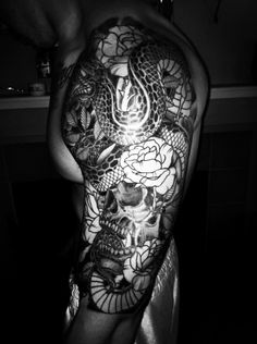 Half Sleeve Tattoo Tattoos Snake Skull