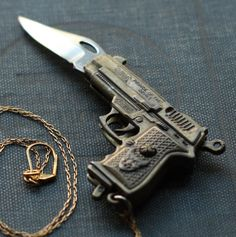 Gun Pocket Knife Necklace