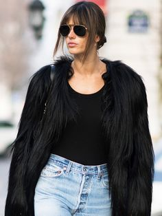 Alessandra Ambrosio's Winter Outfit Is Probably Hanging in Your Closet via @WhoWhatWear