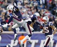 Celebrating on the field ~ Sergio Brown, Devin McCourty, Patrick Chung