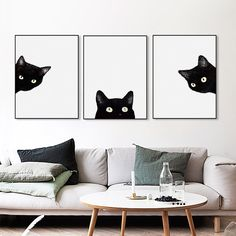 Cheap framing gun, Buy Quality painting aluminum bicycle frame directly from China frame bathroom wall mirror Suppliers: Watercolor Minimalist Kawaii Animals Black Cats Head Canvas A4 Art Print Poster Nordic Wall Picture Home Decor Painting No Frame