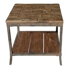 Trenton Distressed Pine/ Metal End Table - Overstock™ Shopping - Great Deals on Coffee, Sofa & End Tables
