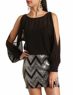 Cold Shoulder Sequin Chiffon 2fer Dress: Charlotte Russe