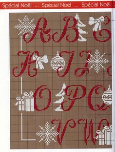 sampler natale 2/4,alphabet charted for needlepoint or cross stitch