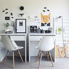 I like the double desk! Double Desk, Kids Study, Kids Work, Kid Desk, Boys Desk, Kid Spaces, Kids Decor, Boy Room, Kids Bedroom