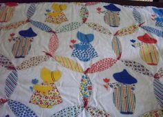 Vintage, Sun Bonnet Sue and Sam, Children's Blanket, Tied Quilt, Handmade, Red, Yellow, Green, White, Blue, Wedding Ring Pattern