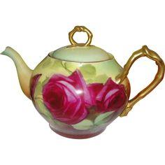 Antique Stunning Red Rose Limoges France Teapot