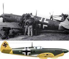 Spitfire in Luftwaffe markings Ww2 Aircraft, Fighter Aircraft, Military Jets, Military Aircraft, Luftwaffe, The Spitfires, Supermarine Spitfire, Ww2 Planes, Battle Of Britain