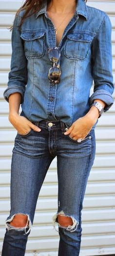 Shredded denim with denim shirt.