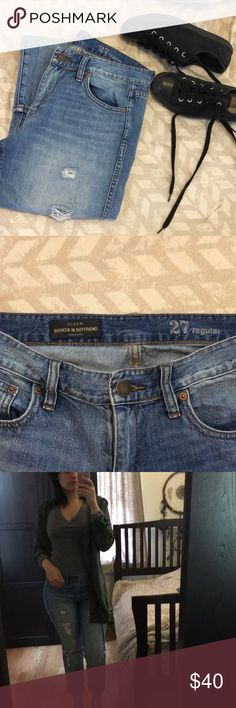 J Crew Boyfriend Jeans Cool fit! Size 27 regular - Broken in Boyfriend Jeans. Length is at ankle for rolling up. Super light and comfortable to wear. J. Crew Jeans Boyfriend