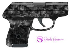 Pink Gun -  Ruger LCP .380 semi-automatic pistol skulls decoration concept at http://www.PinkGun.com