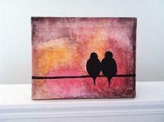C. Russell Modern Bird Art Original Painting Red Orange Black by HandmadebyCJ, $189.00
