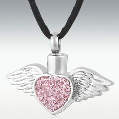 Pink Heart & Wings Stainless Steel Cremation Jewelry-Engravable