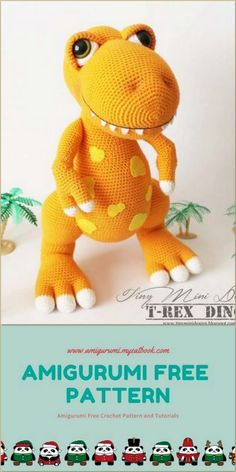 Amigurumi T-rex Dino Free Crochet Pattern - amigu Crochet Animal Amigurumi, Crochet Amigurumi Free Patterns, Crochet Teddy, Crochet Animal Patterns, Crochet Bear, Stuffed Animal Patterns, Crochet Dolls, Free Crochet, Amigurumi Toys