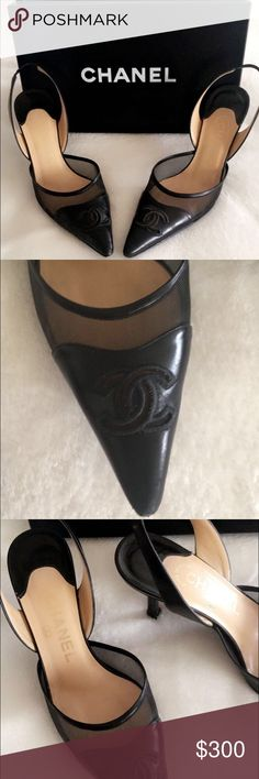 Authentic Chanel Slingback Heels Authentic Black Chanel Slingback Heels: worn on bottoms, leather and sheer mesh, comes with box and no bag  CHANEL Shoes Heels