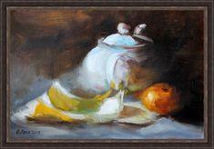 Натюрморт с чайником и фруктами (копия). Олеся Лопатина. Холст на картоне 20*30 см, масло.