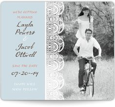 Save the Date Magnets - Classic Lace - I like the magnet idea and had planned to use some lacy design for save the dates.