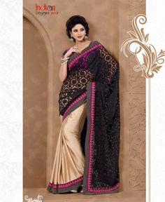 Queenly Black Net Saree