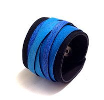 Blue leather straps bracelet by julishland