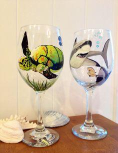 Turtle and shark wine glass