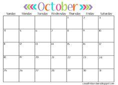 October 2016 Calendar Cute 1.