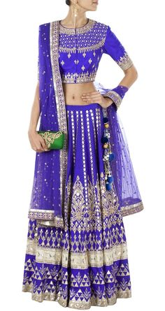 Blue gota pati embroidered lehenga set available only at Pernia's Pop ...