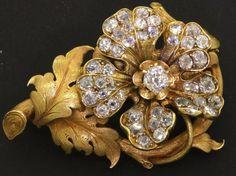 Heavy 18K gold beautiful 5.56CT diamond cluster Rose flower brooch w/ .50CT ctr.