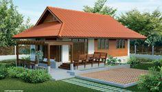 แบบบ้านชั้นเดียวแนวร่วมสมัย กลิ่นอายไทยประยุกต์ แต่งไม้ฝาผสานกับคอนกรีตเรียบ | NaiBann.com