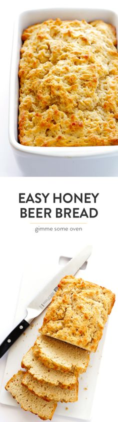 This recipe for Honey Beer Bread is my absolute FAVORITE. It's super easy to make, calls for just 6 ingredients, and tastes perfectly buttery, sweet and delicious! | gimmesomeoven.com