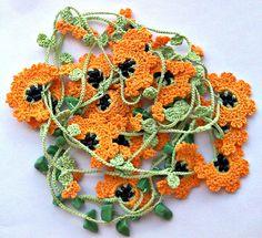 Handmade Crochet Necklace Oya with Orange Flowers. $18.99, via Etsy.