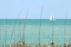 Coastal Florida Ocean Photography Teal Water Sailboat on Horizon Fine Art Photography print 8x10 Gulf coast summer fun Beach home decor