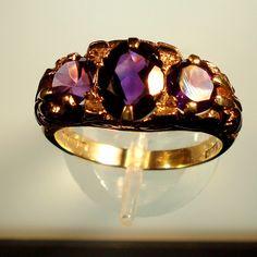 Civil War Dated, Three Stone Royal Amethyst Hallmark Wedding Ring: | Facets of history