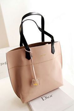 Nude bag with black straps - i LOVE it