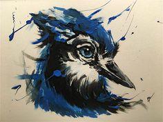 Blue Jay with acryl